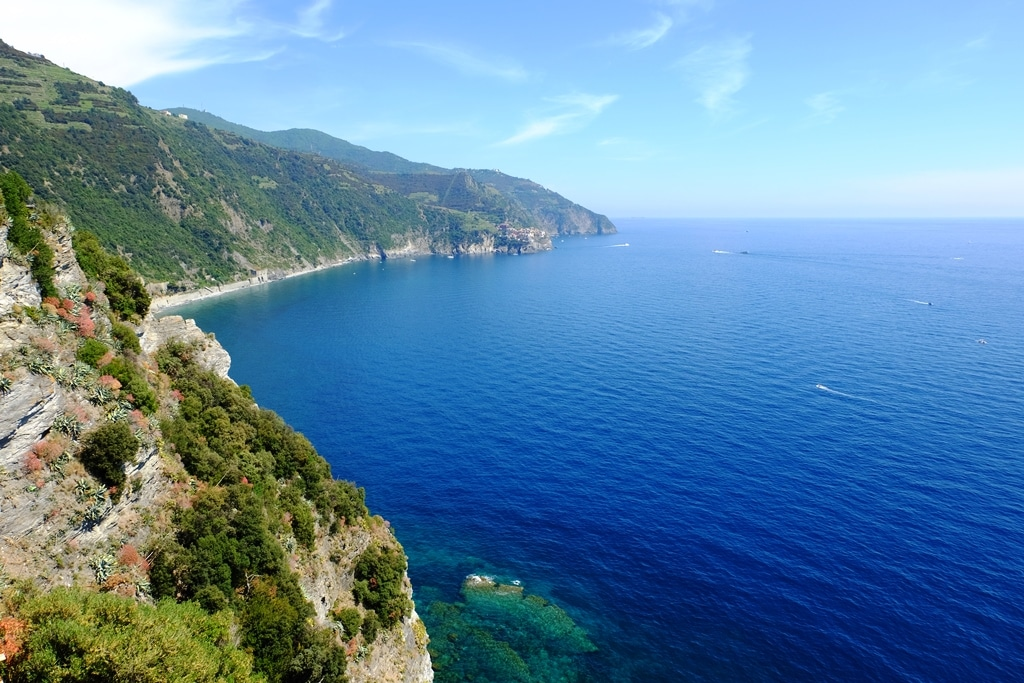 The view from Corniglia towards Manarola in the distance