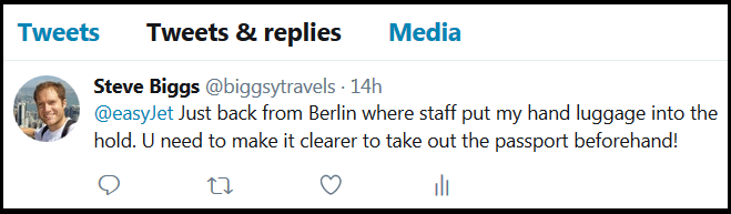 Tweeting Easyjet about passports in hand luggage