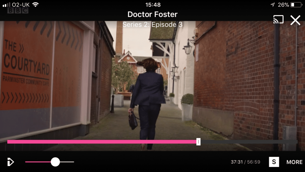 Doctor Foster striding towards the Parminster Community Café