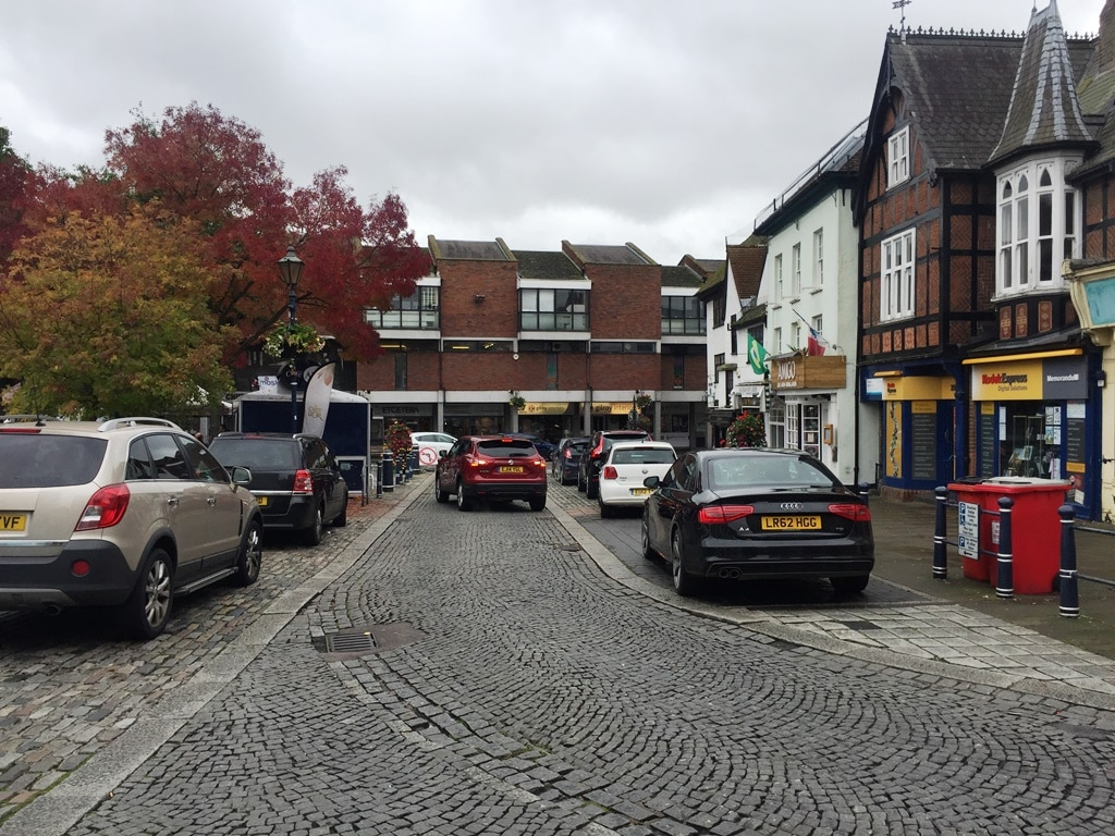 The road around Hitchin Market Square where the traffic actually goes the other way