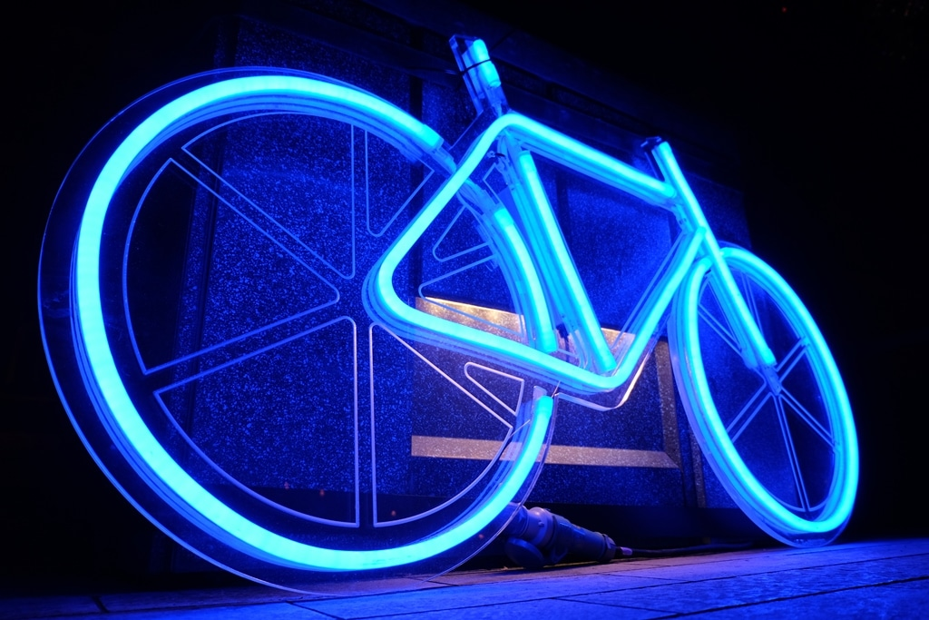 Lumiere London Brown Hart Gardens - neon bike