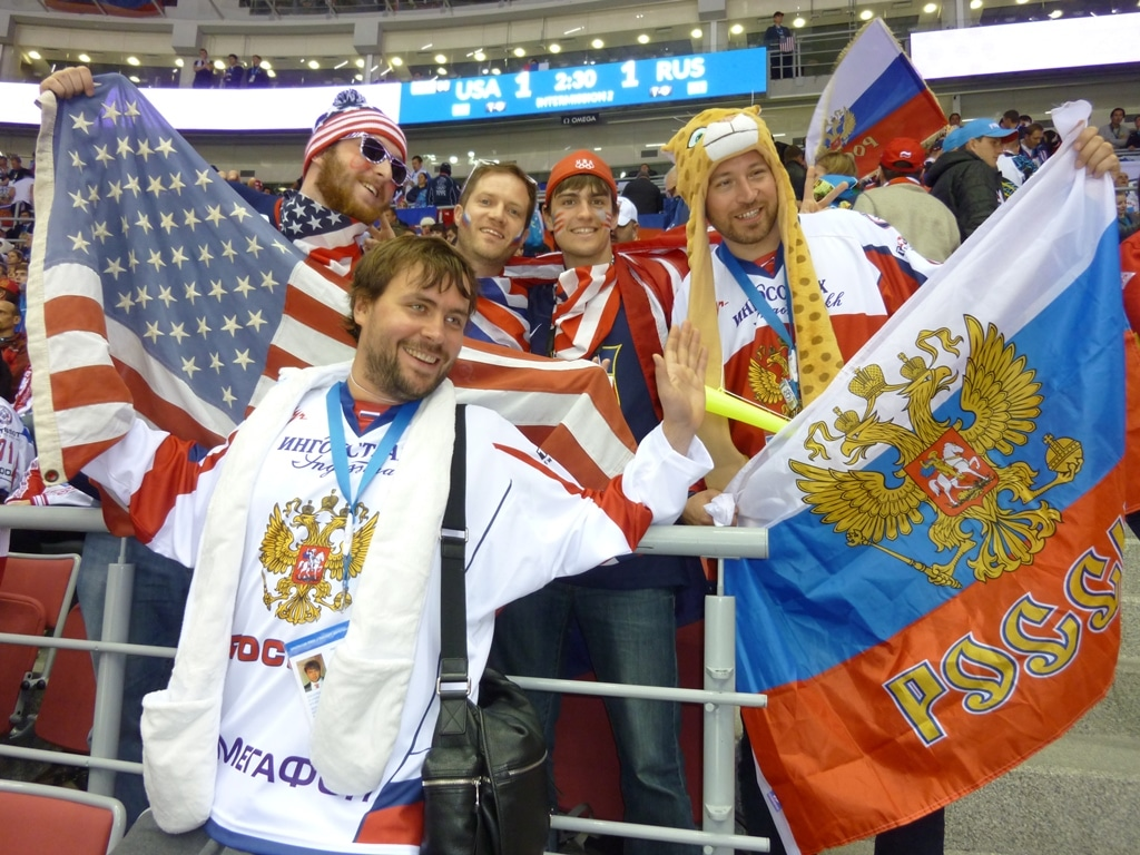 Mixing at the match of games - Russia vs USA in the Winter Olympics men's ice hockey