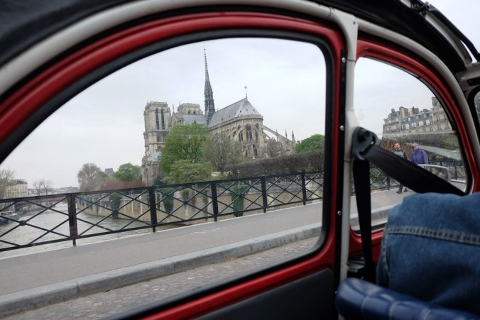 The Notre Dame through the 2CV's side window