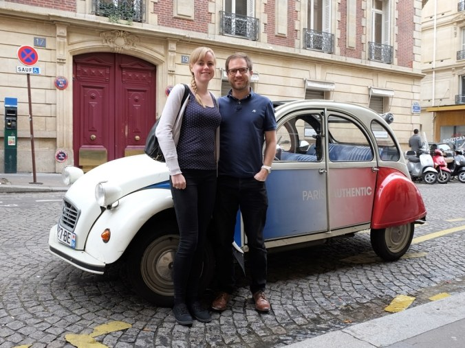 Tour over! A final photo with our little 2CV