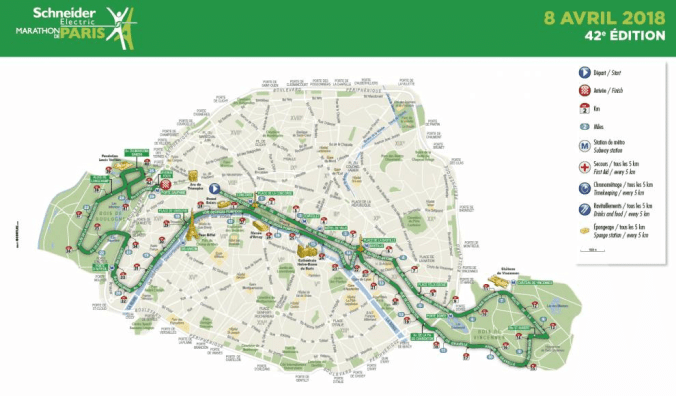 The Paris Marathon route 2018