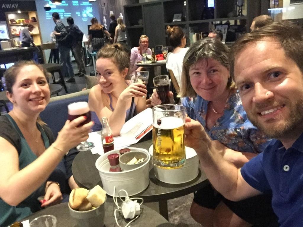 Our celebratory arrival drinks in the Hotel Ibis Gare Midi