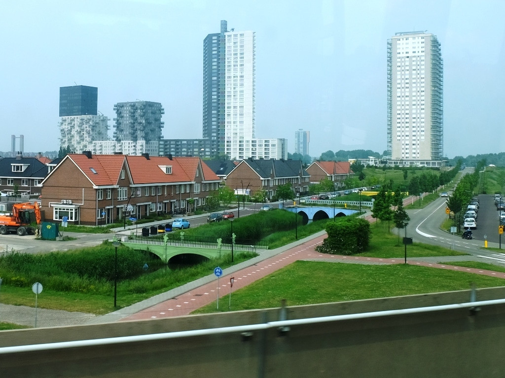 The view from the train looking down on the Spijkenisse housing estate