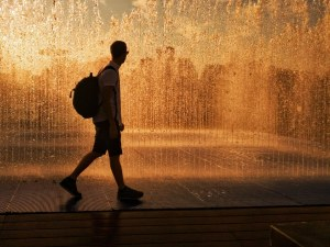 My ThreeGallery submission of Tom Archer walking in front of a fountain at sunset