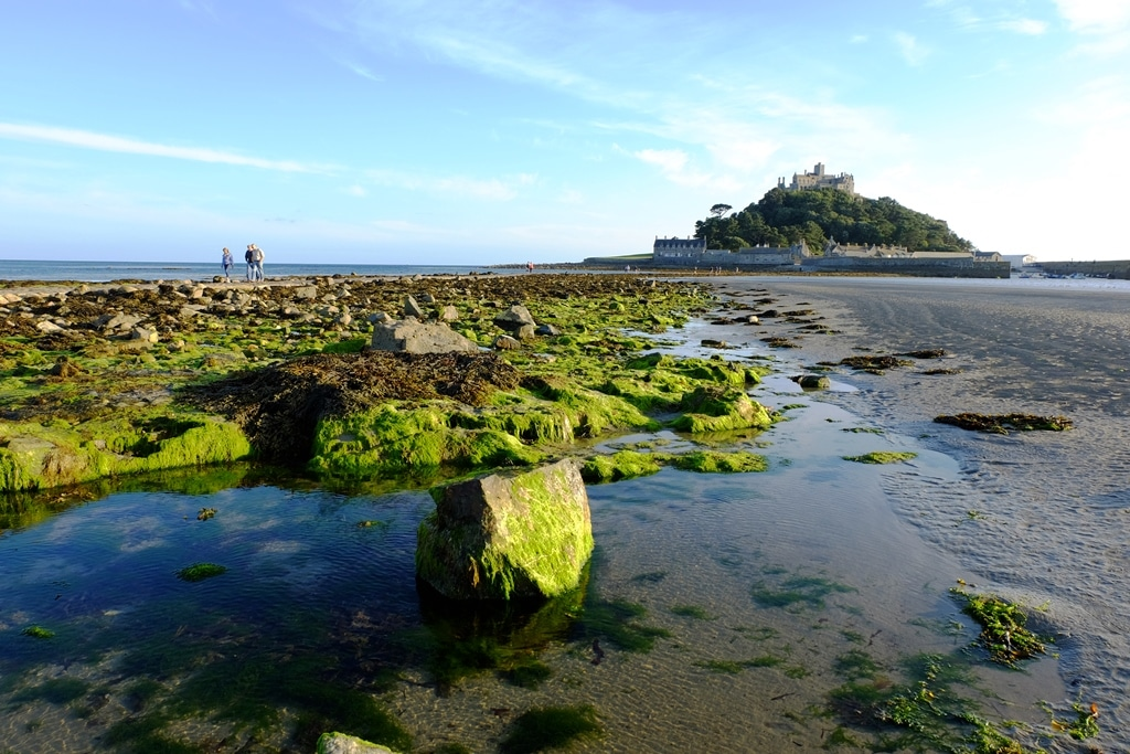 Checking out the rock pools on Marazion Beach