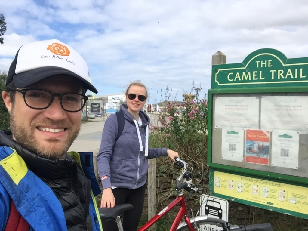 Arriving at the end of The Camel Trail in Padstow