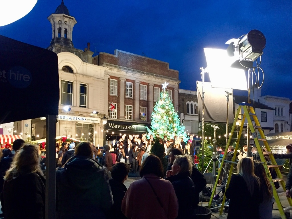 The Boots 2018 Christmas TV advert being filmed in Hitchin Market Square