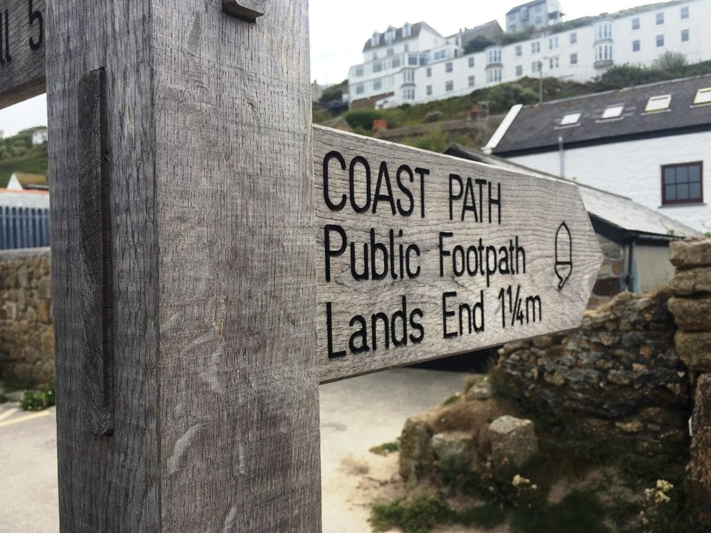 The start of the coastal path at Sennen Cove