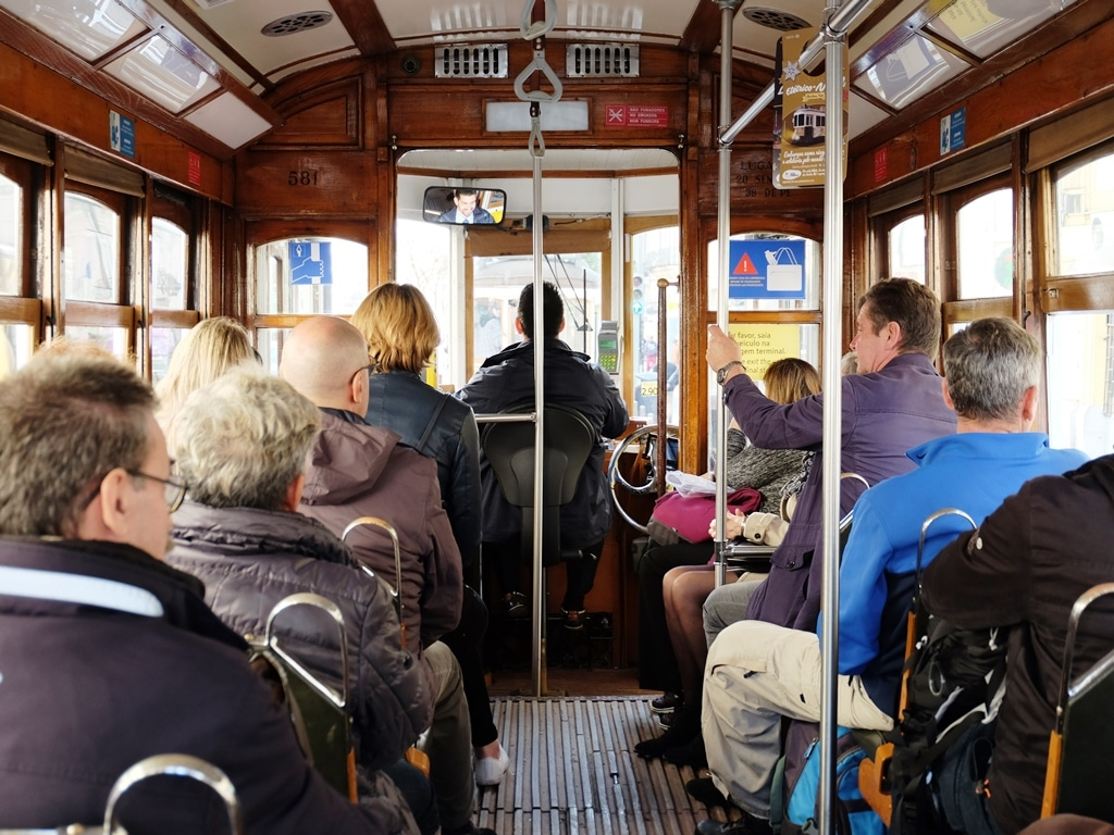 Inside a carriage of an old Tram 28