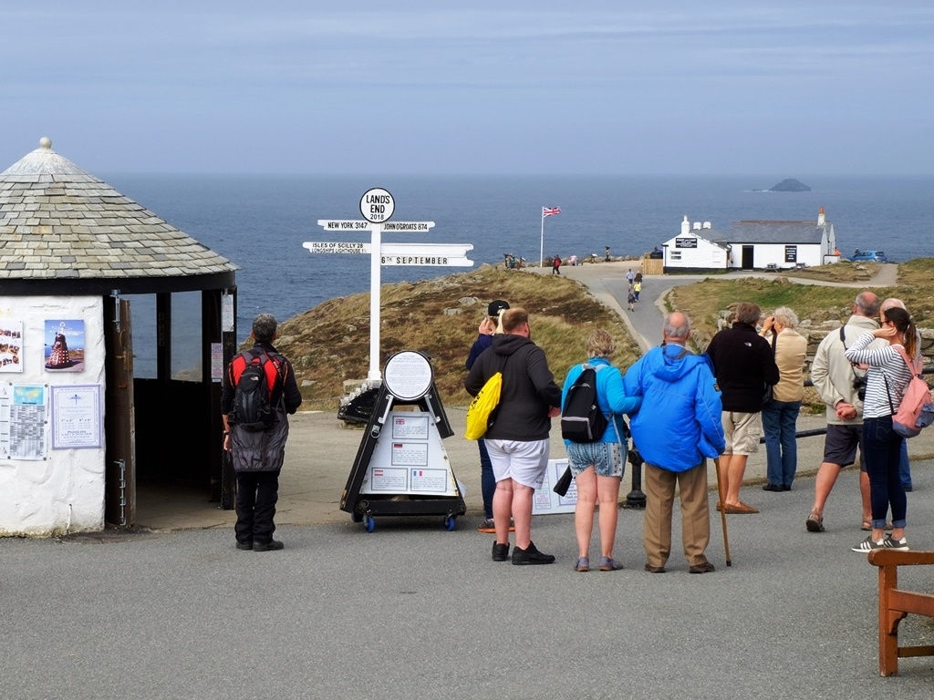 Looking down towards the famous Land's End signppost