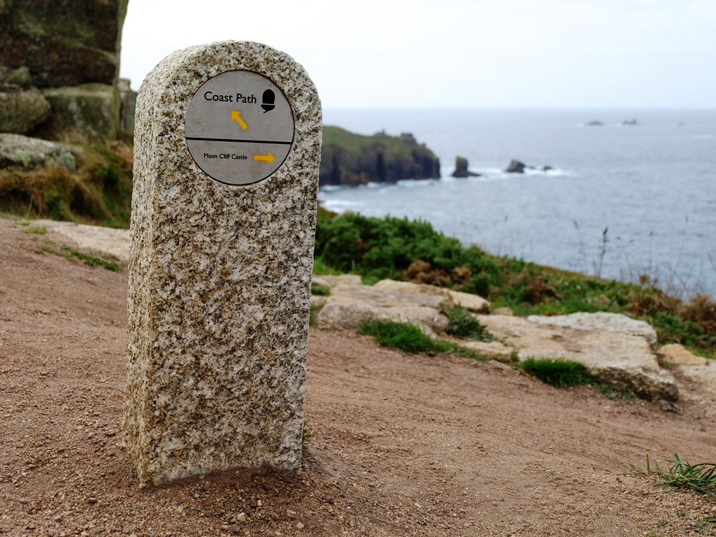 SW Coastal path stone waymarker