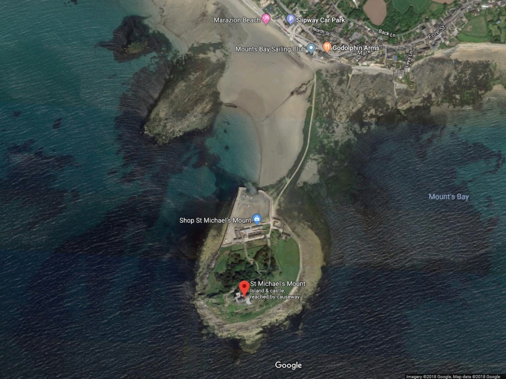 The aerial view of St. Michael's Mount taken from Google Maps