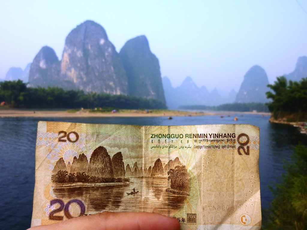 Banknote locations - The China 20 yuan view
