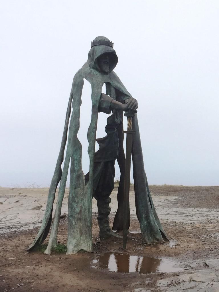 The imposing bronze statue of King Arthur