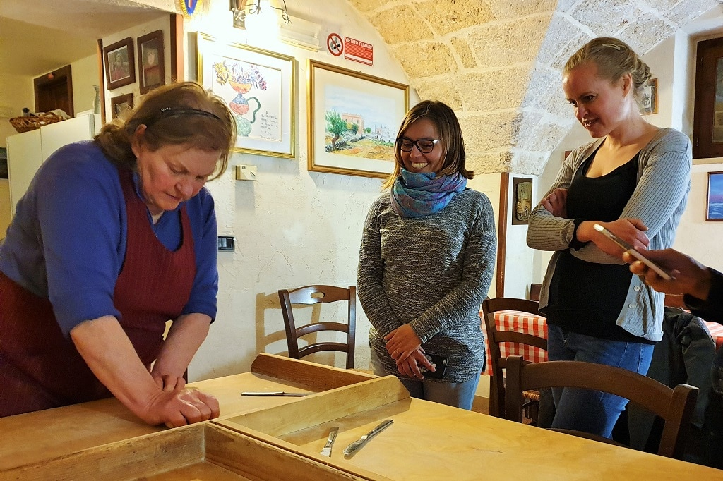 Preparing the dough at Agriturismo Curatori ready to make some orecchiette pasta