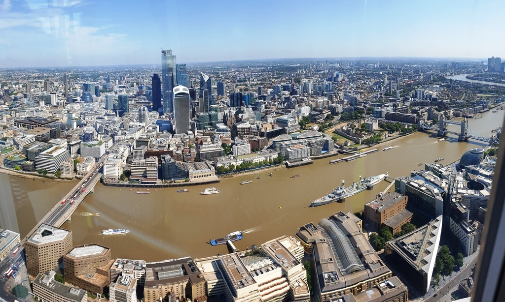 View of the River Thames from The Shard