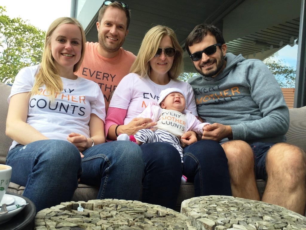 Group shot of people wearing their Every Mother Counts outfits