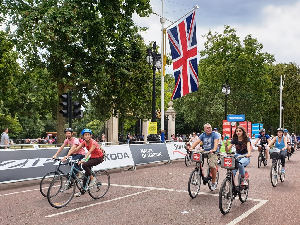 Cyclists riding along The Mall as part of FreeCycle
