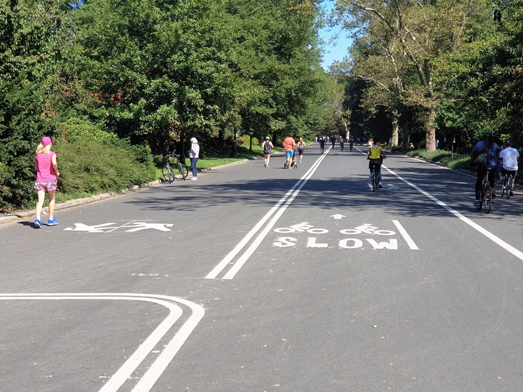 The various lanes on the Central Park road way