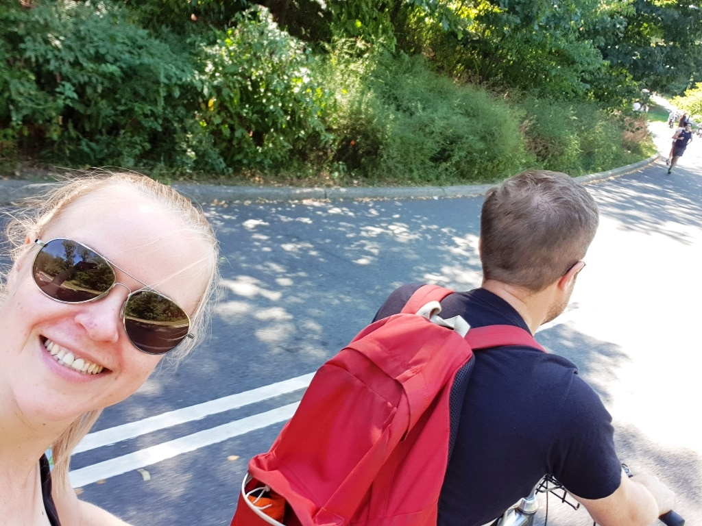 Cycling in Central Park … on a tandem