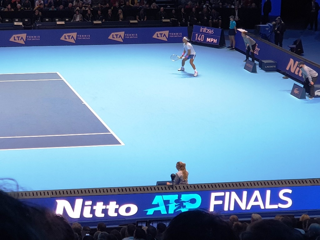 Rafael Nadal standing back to receive serve