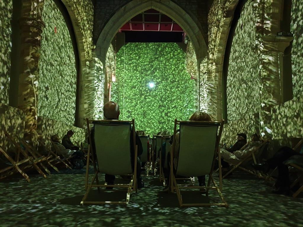 Van Gogh green leaves adorning church walls