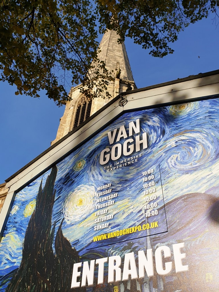 St Marys church Van Gogh exhibition entrance