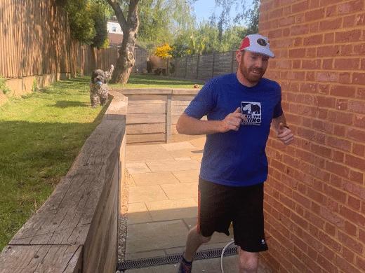 Realrhinodave during his backyard marathon