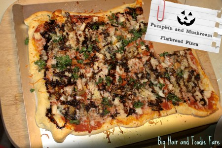 Pumpkin and Mushroom flatbread pizza