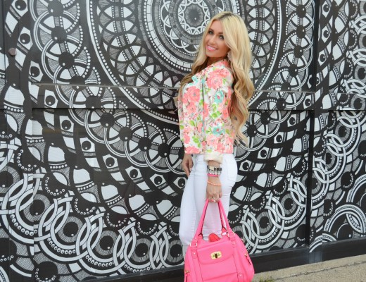 floral blazer, beachy waves, styling wand, bellami hair