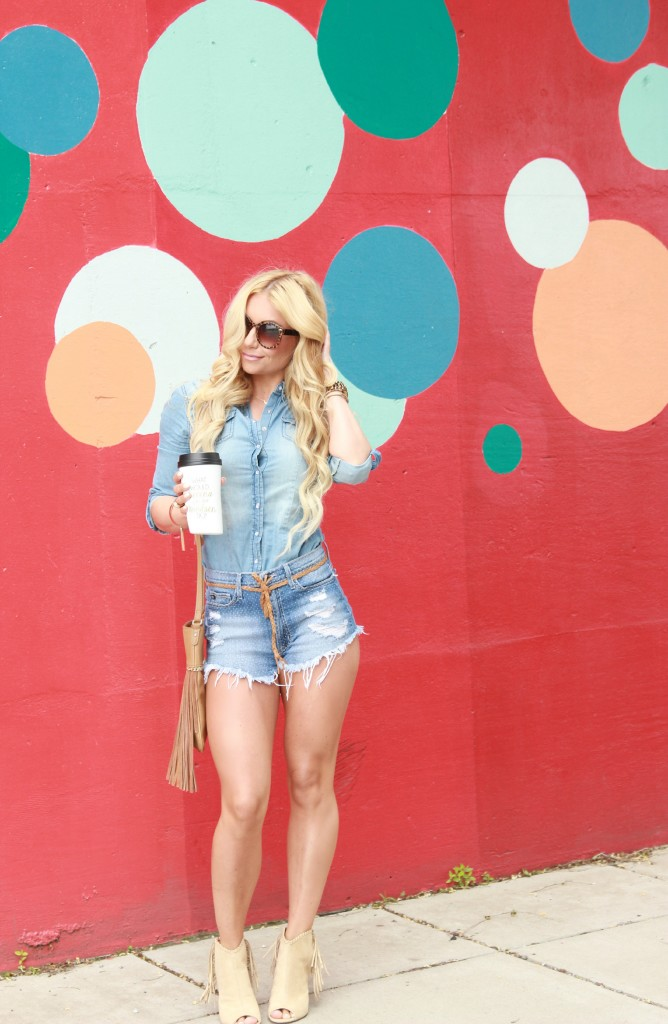 denim on denim, chambray on denim, chambray, canadian tuxedo, just fab, fringe booties, blonde waves