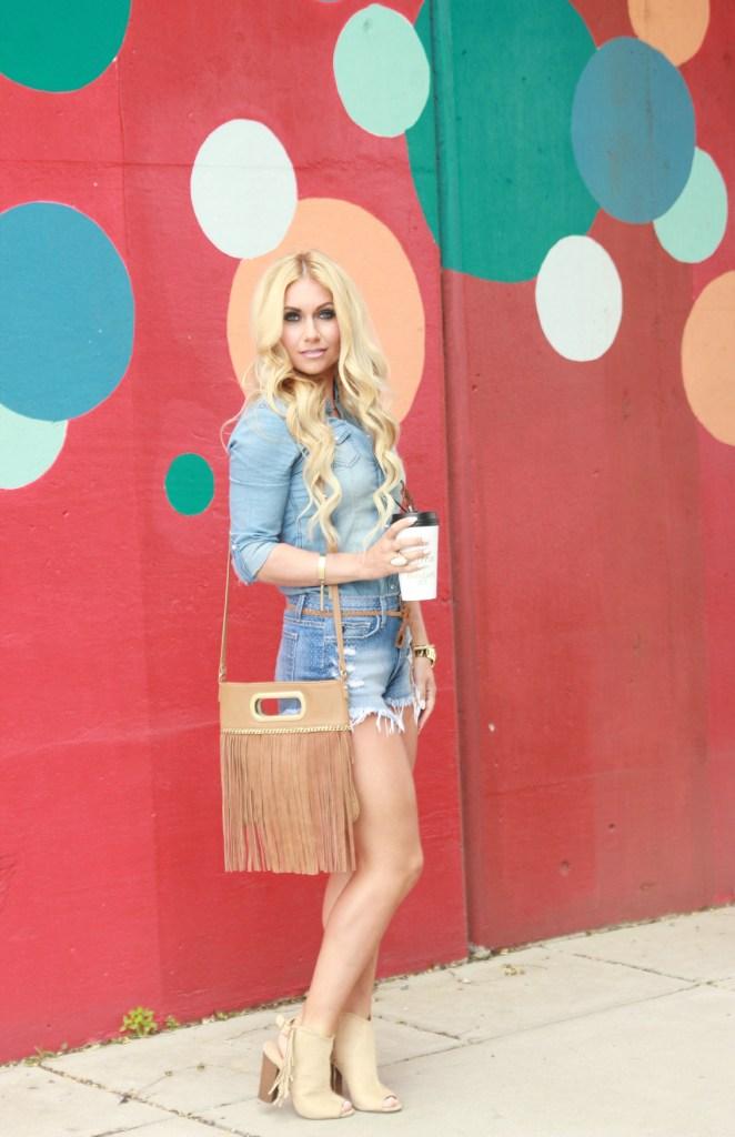 fringe bag, blonde waves, denim on denim, double denim