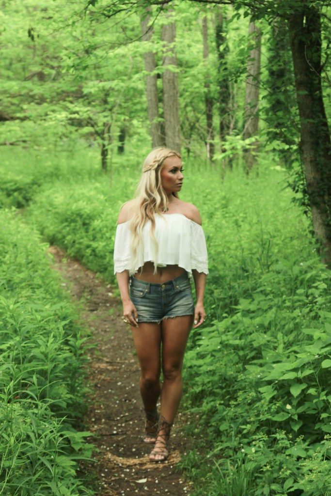 off the shoulder, white top, boho chic