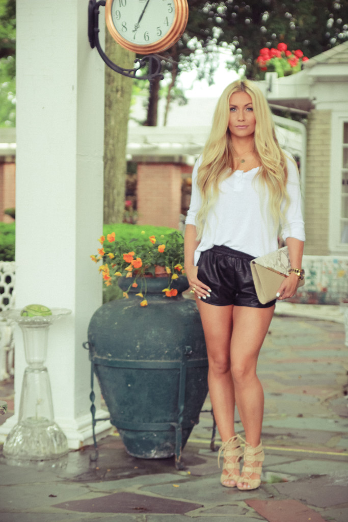 leather shorts, casual, nude heels, what i wore, look of the day, blonde waves