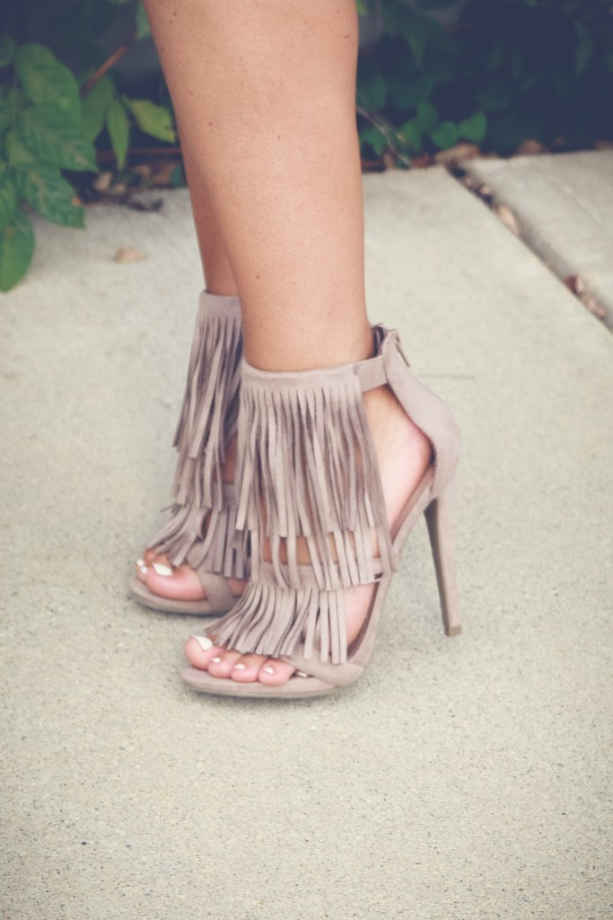 fringe heels, charlotte russe heels, indy blogger,midwest blogger, bblogger, style blog, what i wore