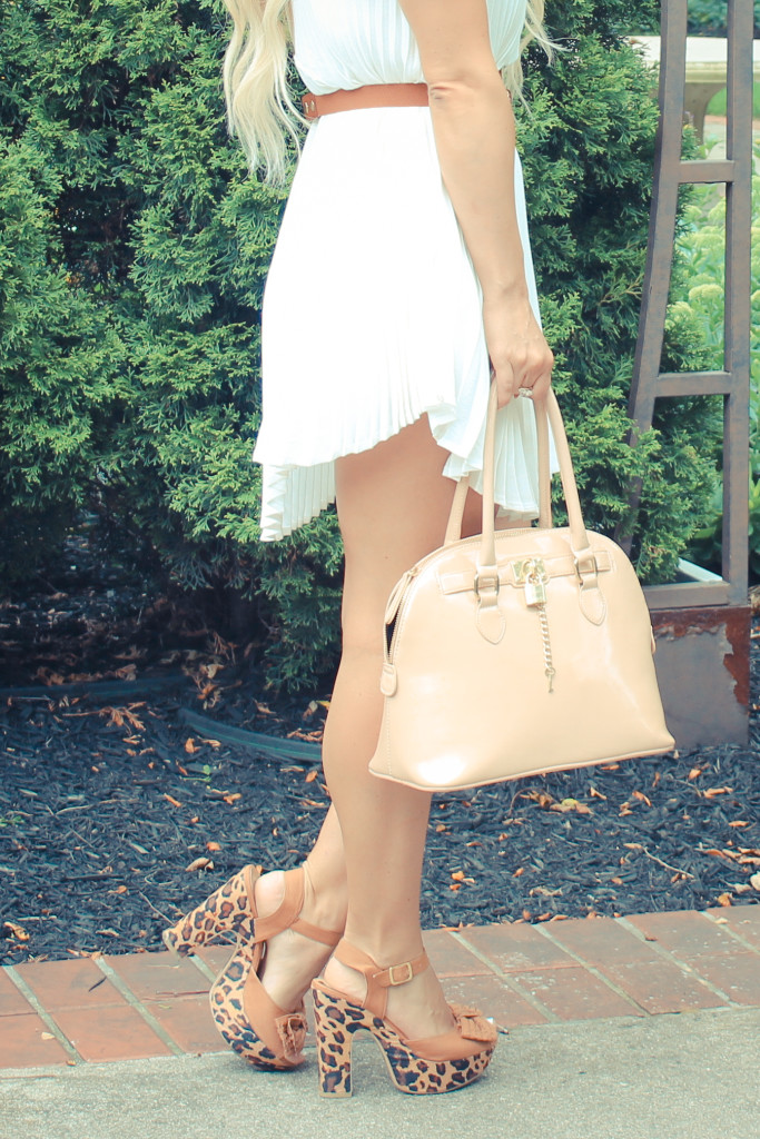 leopard platforms, bow, style blogger, indy blogger, midwest blogger, style blog, midwest style, pleated mini dress, white pleated dress