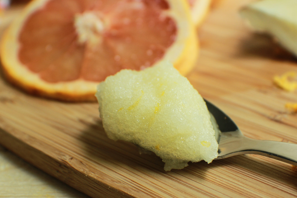 diy sugar crub, grapefruit scrub, ginger