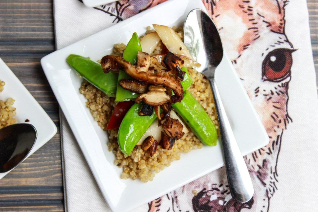Pear and Sugar Snap Pea Salad over couscous with a cranberry-ginger vinaigrette.
