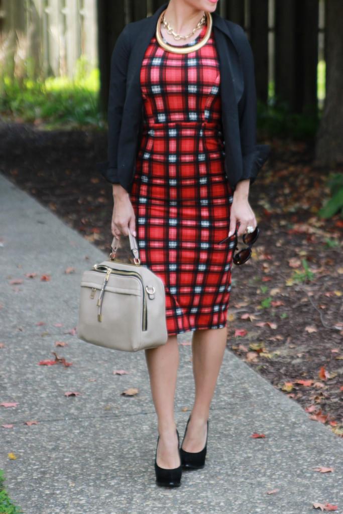ootd#: Plaid pencil dress