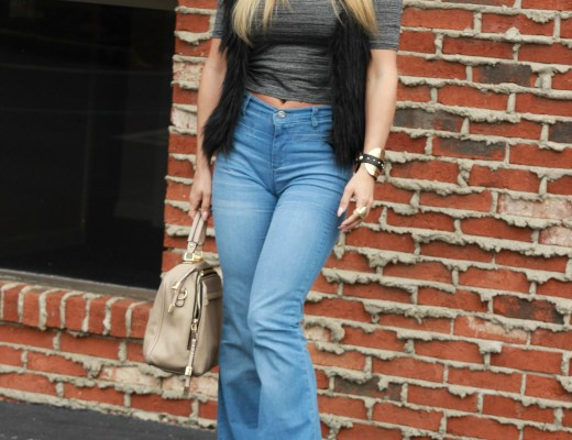 high waisted Jeans: Just Fab. Vest: Wet Seal. Hat: Charlotte Russe. Crop top: H&M
