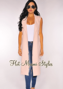 Hot Miami Styles: Blush Collared Belted Vest, $69.99