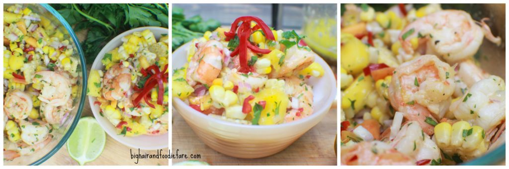 Shrimp and Indiana Sweet Corn Salad with Honey Lime vinaigrette.