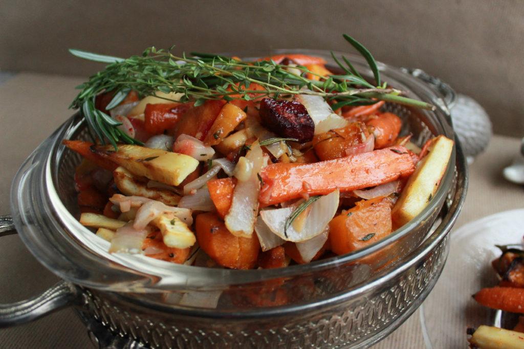 Bourbon Ginger Glazed Winter Vegetables