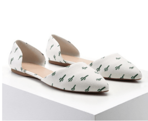 Pointed Toe Cactus Print Flats
