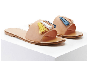 Faux Leather Tassel Slides