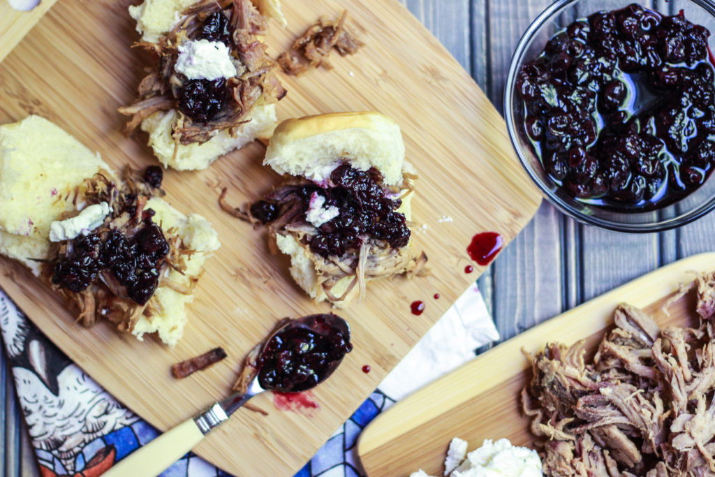 Blueberry Balsamic Compote on Smoked Pork Shoulder